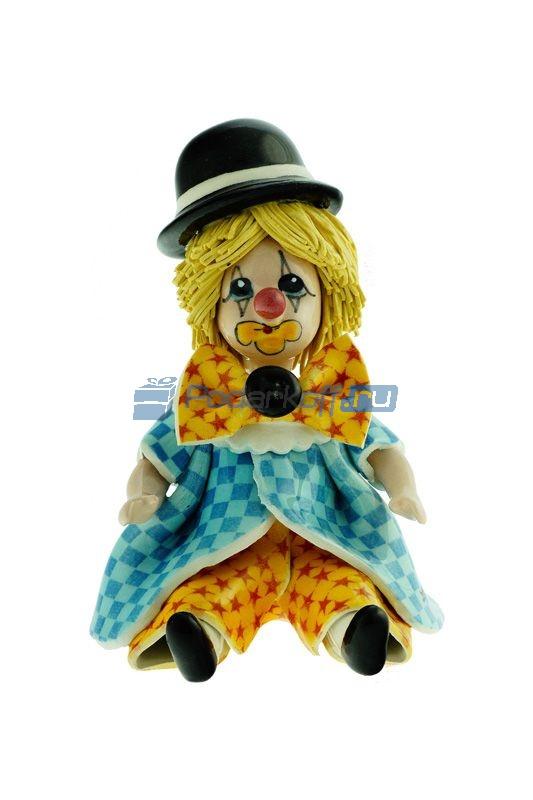 """Статуэтка """" маленький клоун в шляпе"""", в жёлтых штанах и голубой куртке - 1"""