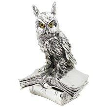 Скульптура 'Мудрый филин на книгах', посеребрение
