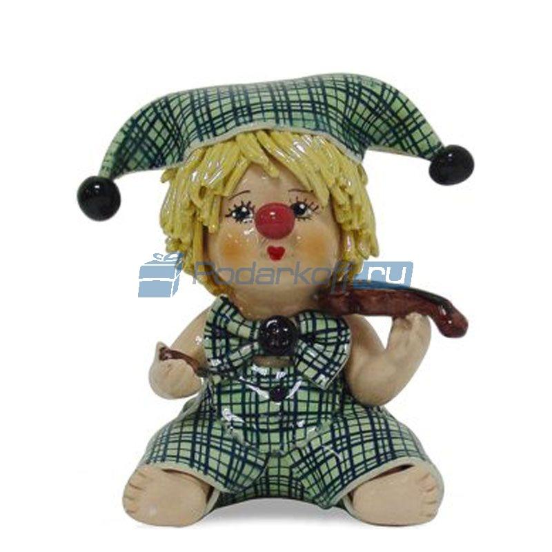 """Статуэтка """"Клоун - мальчик со скрипкой в зеленом костюме"""" - 1"""
