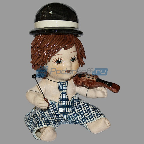 """Статуэтка """"клоун - мальчик со скрипкой в голубом костюме"""" - 1"""