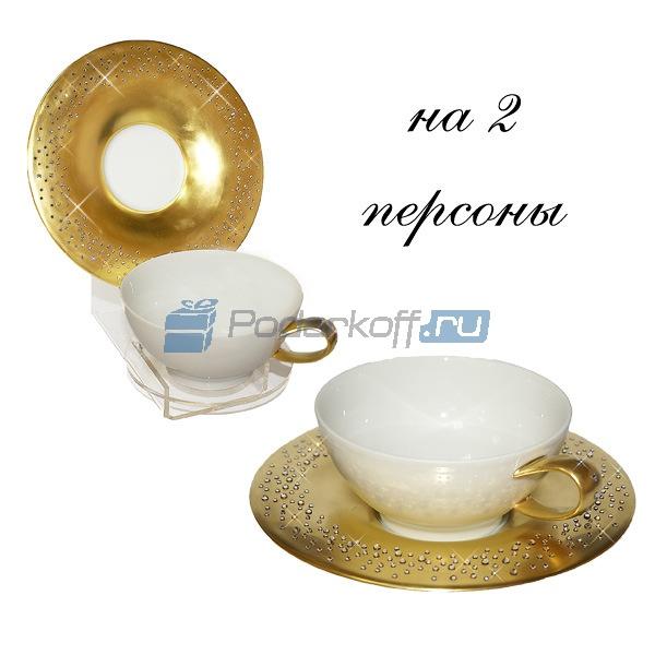 "Чайный набор на 2 персоны ""Свадьба"" (фарфор, кристаллы Swarovski) - 1"