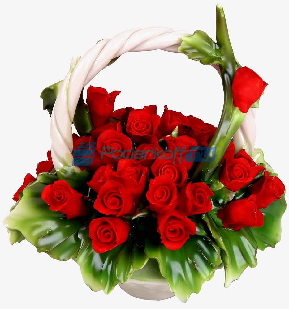 Декоративная корзина с ручкой с красными розами, фарфор - 1