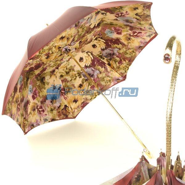 Женский зонт-трость Pasotti Bordo Fiore Oro