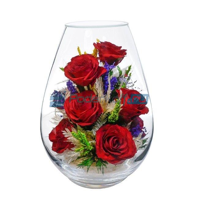 """Цветы в стекле в вакууме """"Юлианна алая"""", розы от 5 500 руб"""